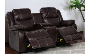 Furny Bernice Two Seater with Storage Recliner Sofa (Brown)