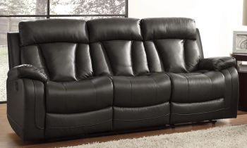 Furny Casaby Three Seater Recliner Sofa in Leatherette (Black)