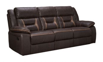 Furny Jackson Three Seater Recliner Sofa in Leatherette (Brown)