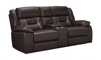 Furny Jackson Two Seater Recliner Sofa in Leatherette (Brown)