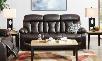 Furny Porch Three Seater Recliner Sofa in Leatherette (Brown)