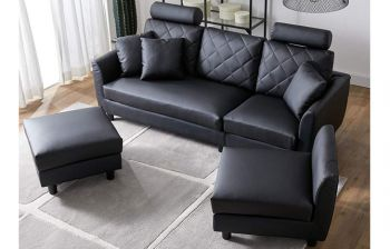 Furny Hollister 5 Seater Interchangeable Leatherette L Shape Sofa Set (Black)