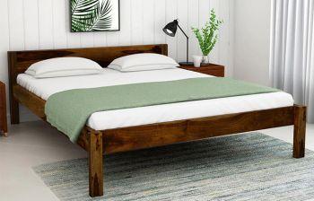 Furny Envy Teak Wood Bed (Teak Polish)