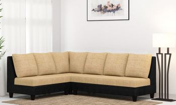 Furny Daisy Six Seater L shape Sofa Set  (Beige-Black )