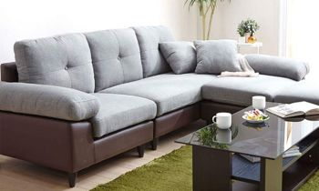 Furny Casafurnish Braxton Five Seater Interchangeable L shape Sofa (Light Grey-Black)