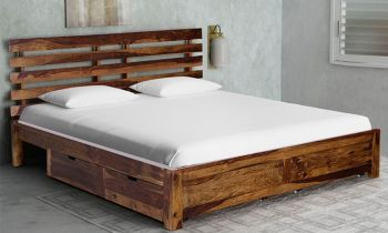 Furny Ujarak Teak Wood  Bed with Drawer Storage (Teak Polish)