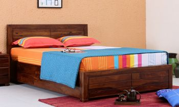 Furny Salomao Teak Wood  Bed with Box Storage (Teak Polish)