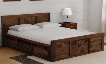 Furny Jaeger Teak Wood Bed with Box Storage (Teak Polish)