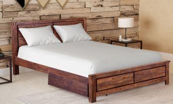 Furny Adora Teak Wood Bed with Storage (Teak Polish)