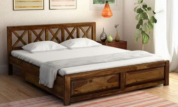 Furny Yaffa Teak Wood Bed with Drawer Storage (Teak Polish)