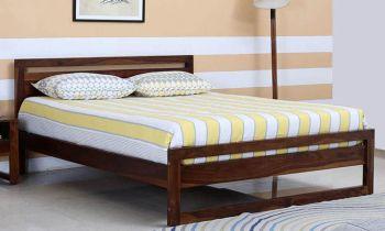 Furny Tammy Teak Wood Bed Without Storage (Teak Polish)
