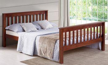 Furny Kaniela Teak Wood Bed Without Storage (Teak Polish)