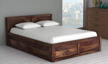 Furny Barclay Teak Wood Bed with Box Storage (Teak Polish)