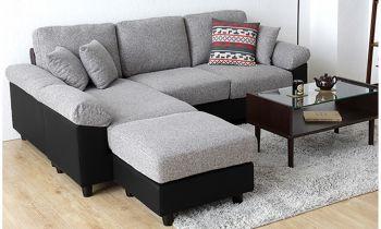 Furny Steve Five Seater Interchangeable L shape Sofa (Light Grey-Black)