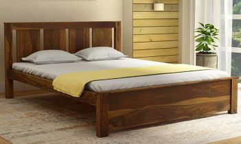 Furny Oralie Teak Wood Bed Without Storage (Teak Polish)