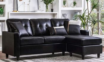 Furny Dennhy Four Seater Interchangeable Leatherette Sofa (Black)
