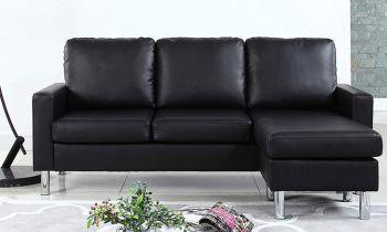 Furny Alexis Four Seater Interchangeable L shape Leatherette Sofa (Black)