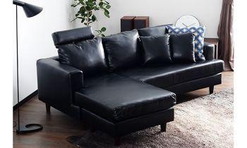 Furny Vanessa Four Seater L Shape Leatherette Sofa (Black)