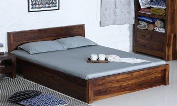 Furny Westley Teak Wood Bed with Drawer Storage (Teak Polish)