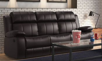 Furny Chris Three Seater Recliner Sofa in Leatherette(Black)