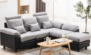 Furny Amerigo Five Seater Interchangeable L Shape Sofa (Light Grey-Black)