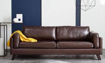 Furny Taylor Three Seater Leatherette Sofa (Dark Brown)