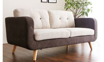 Furny Cyrano Two Seater Sofa (Cream-Brown)