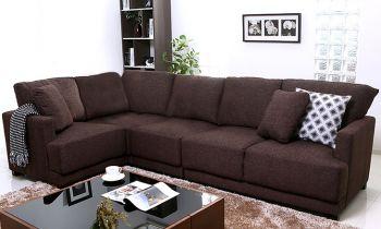 Furny Windsor Five Seater Modular Interchangeable L shape Sofa (Dark Brown)