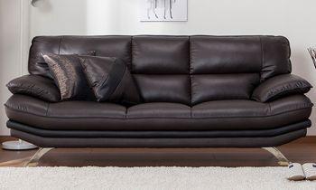 Furny Rubik Three Seater Leatherette Sofa (Brown)