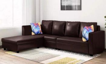 Furny Carol Six Seater LHS L Shape Sofa Set Leatherette (Brown)