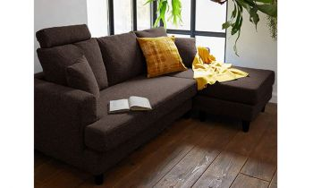 Furny Harisson Four Seater Interchangeable L Shape Sofa (Brown)