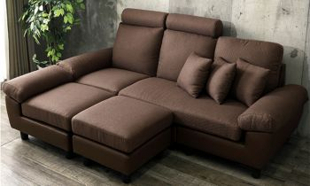 Furny Isabella Five Seater Interchangeable L Shape Fabric + Leatherette Sofa (Brown)