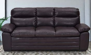 Furny Astro Three Seater Leatherette Sofa (Brown)