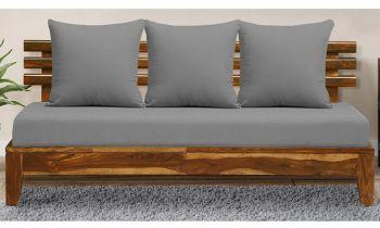 Furny Nebula Three Seater Teakwood Sofa in Teak Polish & Grey Fabric