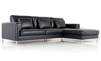 Furny George Four Seater Spacious L Shape RHS Leatherette Sofa (Black)