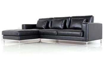 Furny George Four Seater Spacious L Shape LHS Leatherette Sofa (Black)