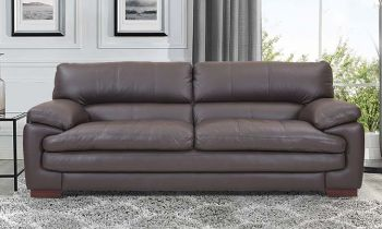 Furny Melbourne Three Seater Leatherette Sofa (Brown)