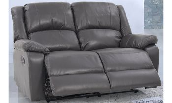 Furny Stark Two Seater Recliner Sofa in Leatherette (Grey)