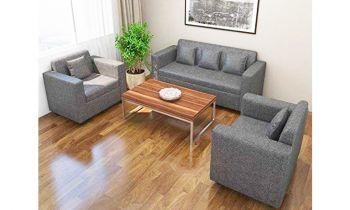 Furny Lexus Fabric Five Seater 3+1+1 Sofa Set (Light Grey)