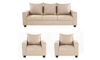 Furny Juan Five  Seater Fabric 3+1+1 Sofa Set (Cream)