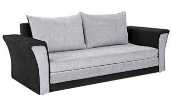 Furny Wooden Leo Fabric 3-Seater Sofa Cum Bed (Grey & Black)