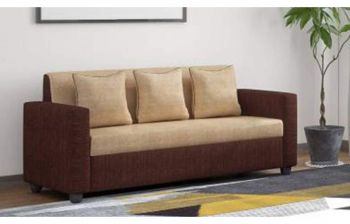 Furny Tulista Fabric Three Seater Sofa (Cream-Brown)