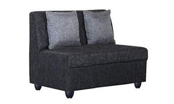 Furny Delta Fabric Two Seater Sofa (Black)