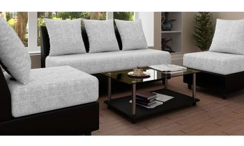 Furny  Algeria Five Seater 3+1+1 Sofa Set (Light Grey-Black)
