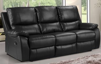 Furny Sweden Three seater Recliner Sofa in Leatherette (Black)