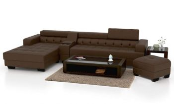 Furny Furnterior L-Shape LHS Six Seater Magestic Leatherette Sofa Set ( Brown)