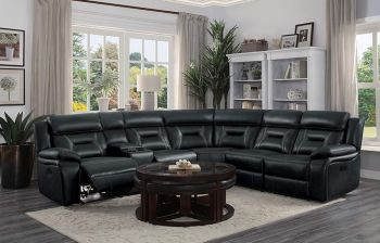 Furny Volverine Six Seater Corner Leatherette Recliner (Black)
