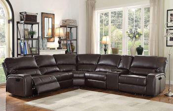 Furny Brasil Six Seater Corner Leatherette Sofa (Brown)