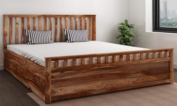 Furny Furnrido Teak Wood Bed with Box Storage (Teak Polish)