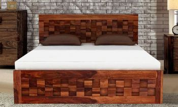 Furny Alastor Teak Wood Bed with Storage (Teak Polish)